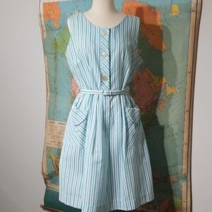Vintage Searsucker Blue and White Dress